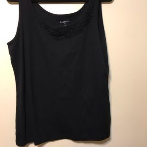 NWT Talbots black tank top with ruffle design top